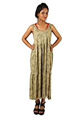 INDRICKA Sage Green colour 100% Organic Cotton Dress for womens.