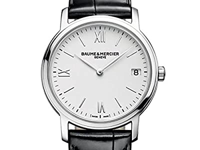 Baume and Mercier Classima Silver Dial Black Leather Ladies Watch 10148