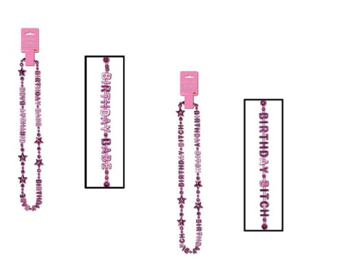 """2 Sets Metallic BEADS Birthday BITCH & BABE Girls Night Out PARTY NECKLACE 36"""""""