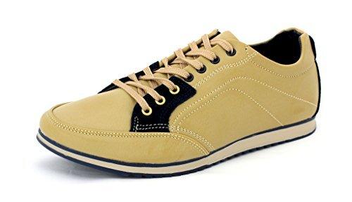 Da Uomo Casual Tela Scarpe Da Ginnastica Stringate scarpe Corsa décolleté UK 6 7 8 9 10 11 - Uomo, Beige/Blu scuro, 6 UK / 40 EU