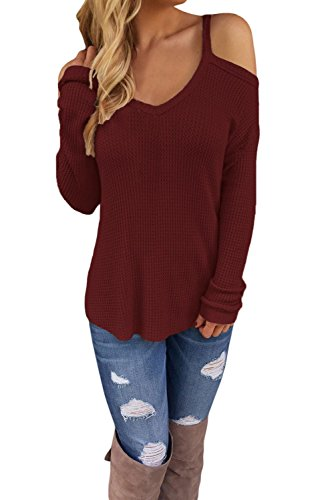 Anmengte Women's Solid Color Sexy Cold Shoulder Long Sleeves Knit Sweater (M, Burgundy)
