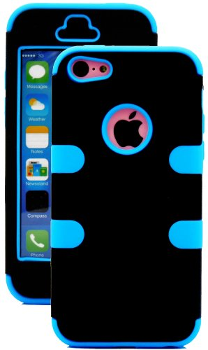 Mylife (Tm) Sky Blue + Black 3 Layer (Hybrid Flex Gel) Grip Case For New Apple Iphone 5C Touch Phone (External 2 Piece Full Body Defender Armor Rubberized Shell + Internal Gel Fit Silicone Flex Protector + Lifetime Waranty + Sealed Inside Mylife Authorize