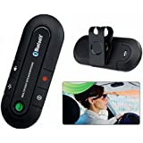 Two Mobile Pairing Portable Multi Point Wireless Bluetooth Hands Free Car Kit With Car Charger(Black)
