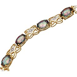 Yellow Gold Mystic Topaz and Diamond Bracelet 10k
