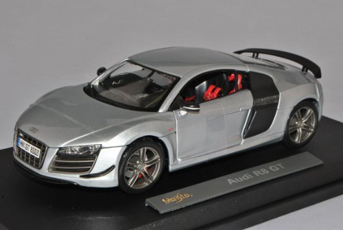 Audi R8 GT Silber Grau Coupe 2010 1/18 Maisto Modell Auto mit individiuellem Wunschkennzeichen