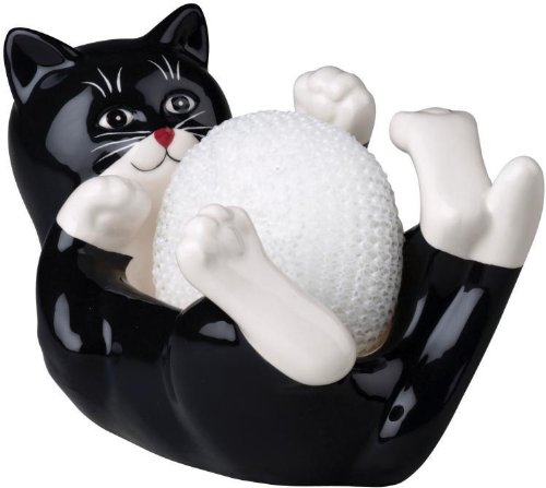 Playful Cat Kitten Kitchen Sink Scrubby Pad Holder