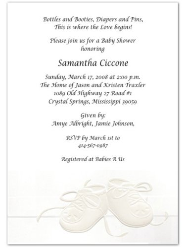 Embossed Booties Baby Shower Invitations - Set of 20