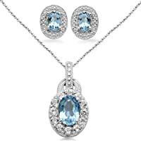 Sterling Silver Oval Blue and White Topaz Ring, Pendant Necklace, Earrings Box Set, Size 7 by Amazon Curated Collection