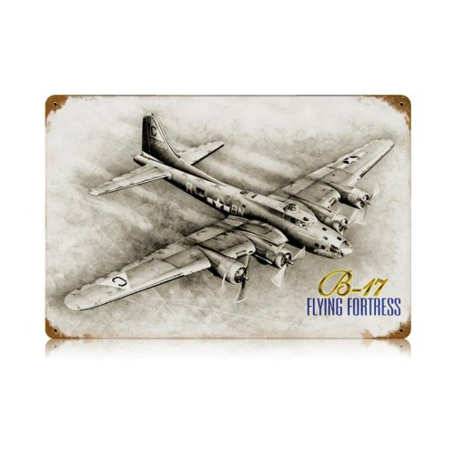 B-17 Flying Fortress Metal Sign Wall Decor 18 x 12