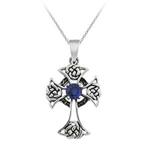 Sterling Silver Celtic Cross with Sapphire Center Pendant with Rolo Chain, 18