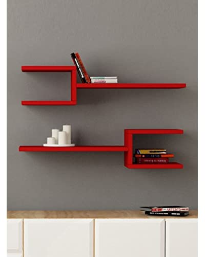 Decortie by Homemania Set 2 Estantes Fork Rojo