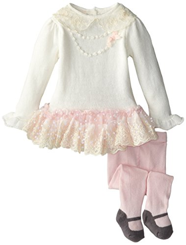 Nannette Baby-Girls Infant 2 Piece Mesh Overlay Dress Set, Pink, 6-9 Months