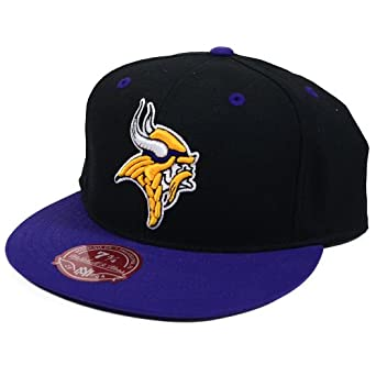 Minnesota Vikings Mitchell & Ness Throwback Logo Fitted Hat- Black (7 3 4) by Mitchell & Ness