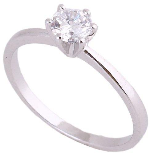 C-Princessリング 指輪 18Kゴールドメッキ コーティン ラインストーン レディース 女性 アクセサリー ジュエリー エンゲージリング 婚約 可愛い (ホワイトゴールド, 18)