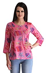 ZAIRE Women's Fashionable Printed 3/4 Sleeves Semi-Georgette Top (1777-3/4TH,Pink,XL)