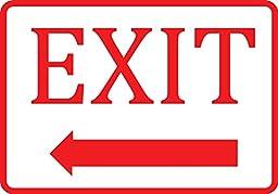 White Exit Left Arrow Sign