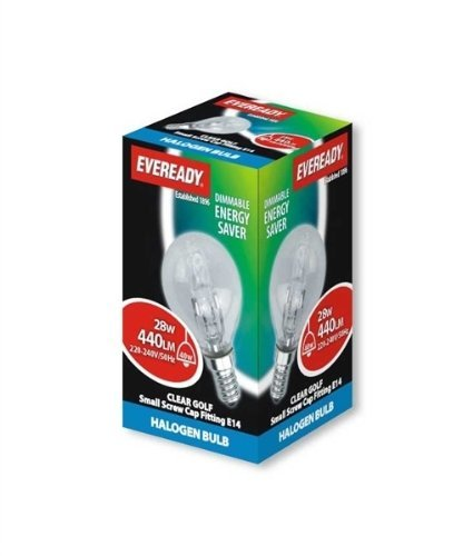 Eve Halogen G45 Golf Lamps Energy Saving 28 Watt 40 Watt Ses/E14 Small Edison Screw