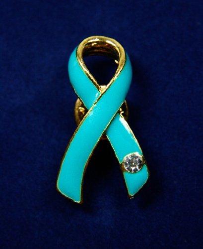 Teal Ribbon Pin with Austrian Crystal (36 Pins)