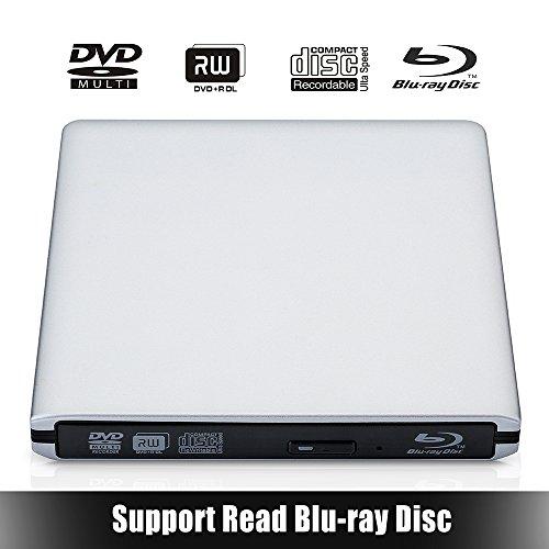 VicTsing Masterizzatore DVD / CD USB 3.0, Lettore 3D BD Blu-ray con 12,7 mm Chip Interno, Dispositivo ODD Esterno con Due Cavi USB, per Apple MacBook, MacBook Pro, MacBook Air o Altri Laptop / Desktop con Porta USB - Argento