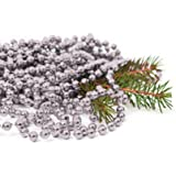 Christmas Xmas Metallic Bead Garland 8m x 8mm Selection Shiny Tree Decorations (Silver)