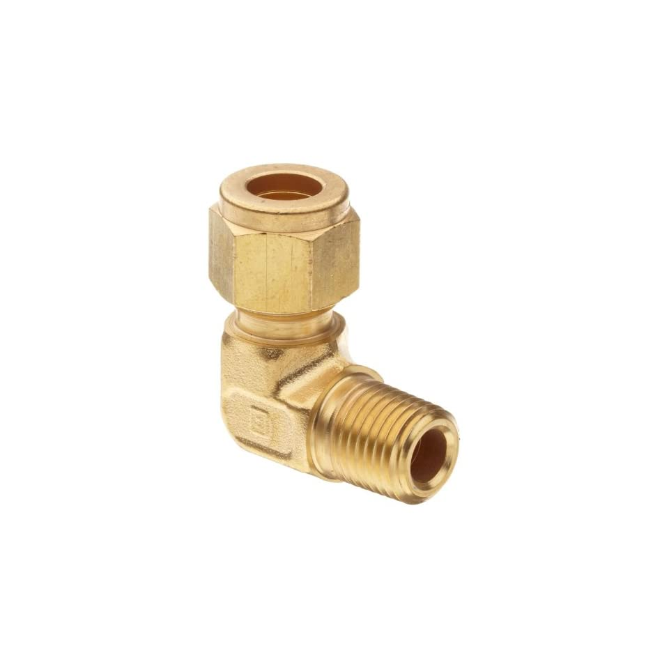 Parker CPI 4 4 CBZ B Brass Compression Tube Fitting, 90 Degree Elbow, 1/4 Tube OD x 1/4 NPT Male