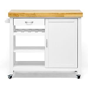 Amazon.com - Baxton Studio Denver Modern Kitchen Cart/Island with Butcher Block Top, White ...