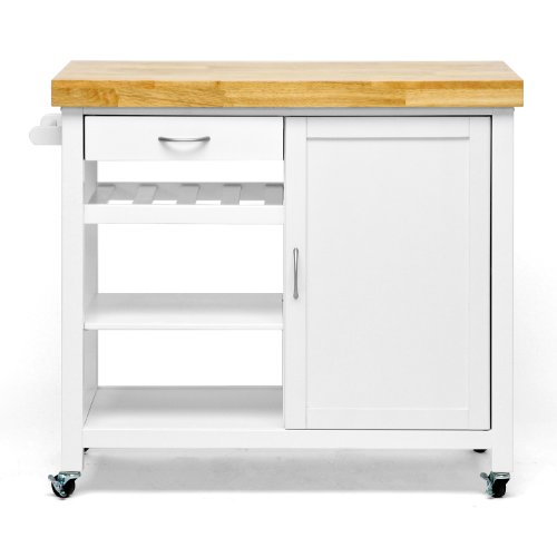 Baxton Studio Denver Modern Kitchen Cart/Island With Butcher Block Top, White