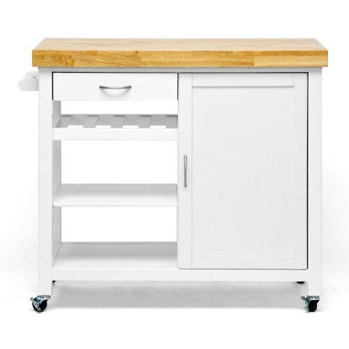 Baxton Studio Denver Modern Kitchen Cart/Island with Butcher Block Top, White (Butcher Block Bar compare prices)