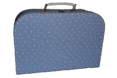 Kinderkoffer KLEIN blau hellblau weiße Punkte