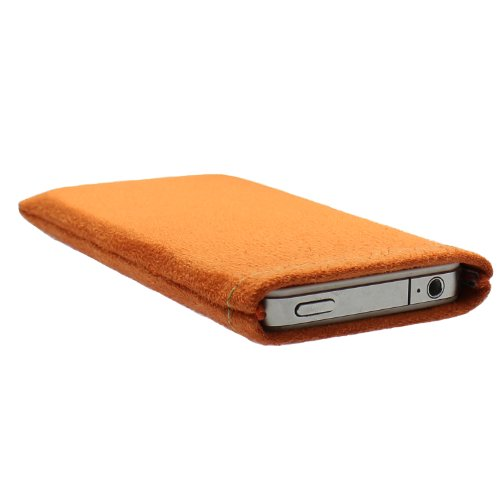 L&#39;Art de Janney Belly orange Handytasche Tasche aus Textil-Stoff f&#252;r Doro Phone Easy 410 GSM mit Kontrastnaht