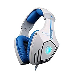 SADES A60 Comfortable 7.1 USB Surround Sound Stereo Over-the-Ear Gaming Headset with Mic Bass Vibration Noise-Canceling Volume Control for PC Whiteblue