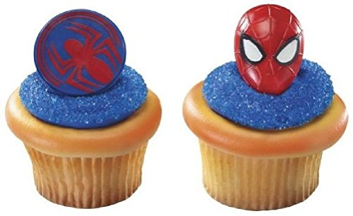 12 Spiderman Cupcake Rings Mask & Face New