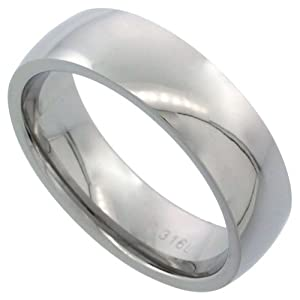 Surgical Steel 6mm Domed Wedding Band Thumb Ring Comfort-Fit High Polish, sizes 5 to 12