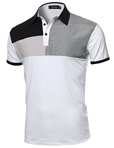 Multi-Patterned Polo Shirt White M Size