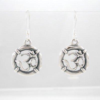 Sterling Silver Round Om or Aum Dangle Earrings