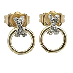 Beautiful Round Brilliant Cut White Diamond Circle Earring With Push Back, Yellow Gold Plated Silver