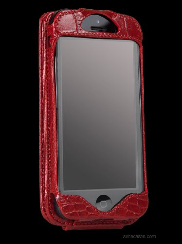 Great Price Sena Leather Walletskin for iPhone 5 - Croco Red