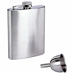 8oz stainless steel flask and funnel set.