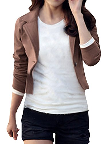 uxcell Ladies Long Sleeves One Button Casual Autumn Blazer
