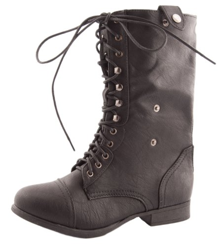 Top Moda Women's SMART-1 Fold Down Military Lace Up Combat Boots