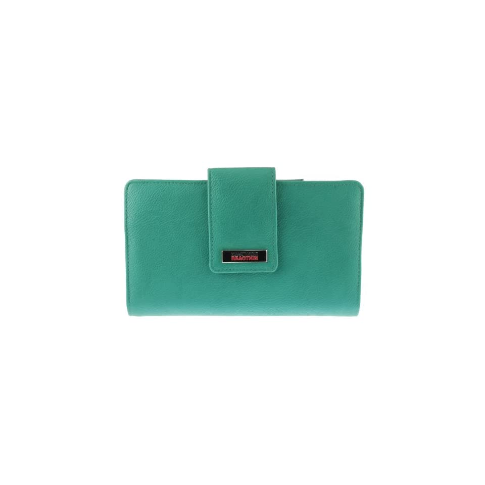 Kenneth Cole REACTION Clutch Wallet with Mirror (Teal/Grey/Coral Pink)