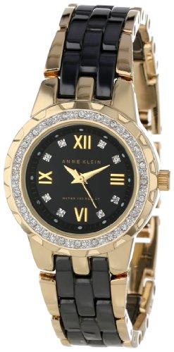 365c614df Anne Klein Women s 10 9456BKGB Ceramic Swarovski Crystal Accented Gold Tone  and Black Ceramic Bracelet Watch