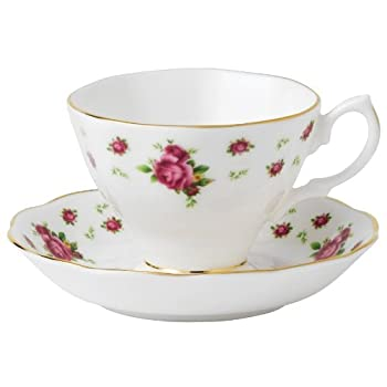 New Country Roses White Cup and Saucer