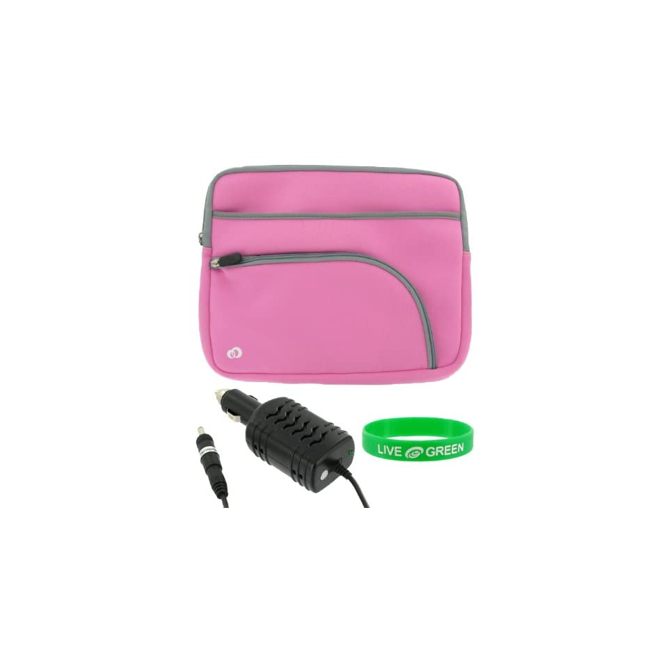 Dell Inspiron Mini IM12 2869 12.1 Inch Netbook Sleeve Case with 12v Car Charger   Tri Pocket Pink