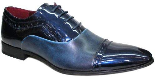Chaussures Hommes , Vernis Bicolore Richelieu Bleu et Bleu Nuit V3