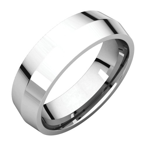 06.00 Mm Knife Edge Comfort-Fit Wedding Band Ring In 14K White Gold ( Size 9 )