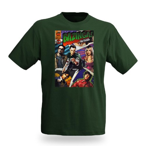 The Big Bang Theory - T-shirt Bazinga Comic Style - Stampa personaggi della sit com americana - XXL