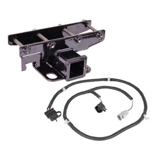 Lowest Price! Rugged Ridge 11580.51 Black Receiver Hitch Kit with Wiring Harness for Jeep JK Wrangle...