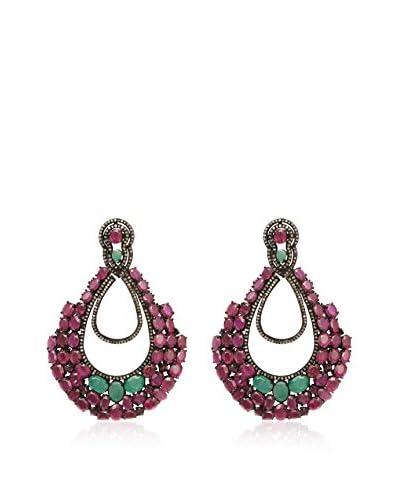 Lori Kassin Champagne Diamond, Ruby & Emerald Teardrop Earrings