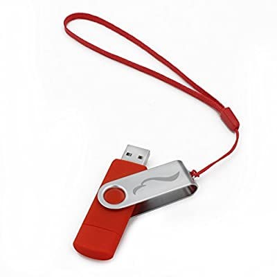 Techkey OTG USB Flash Drive for Cell Phones,Tablets and PCs,Key Chain Included,Galaxy Series,16GB,Red